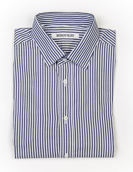 BROOKLYN TAILORS - BKT20 Dress Shirt in White and Blue Bar Stripes