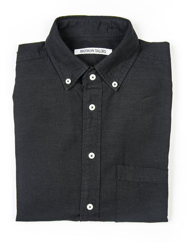 FINAL SALE  - BROOKLYN TAILORS - BKT10 Casual Shirt in Black Cotton/Linen