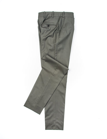 BROOKLYN TAILORS - BKT50 Tailored Trousers in Military Green Wool