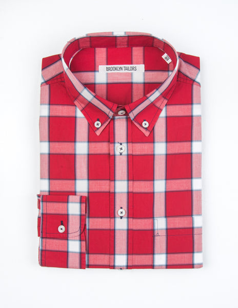 FINAL SALE - BROOKLYN TAILORS - BKT10 Sport Shirt in Red Plaid