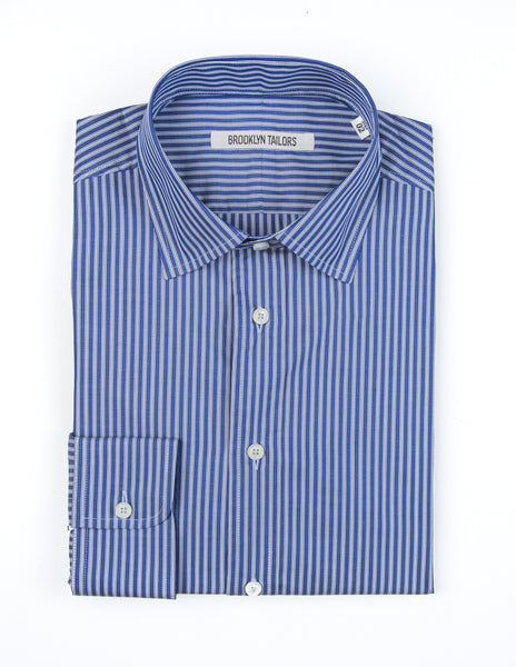 FINAL SALE: BROOKLYN TAILORS - BKT20 Dress Shirt in Navy with Double White Twin Stripes