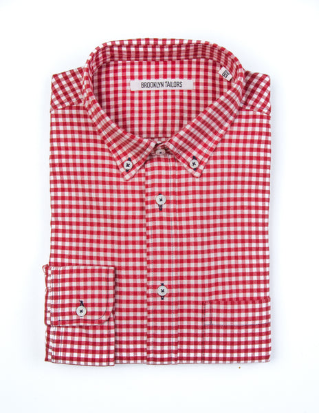 FINAL SALE - BROOKLYN TAILORS - BKT10 Sport Shirt in Red Gingham Flannel