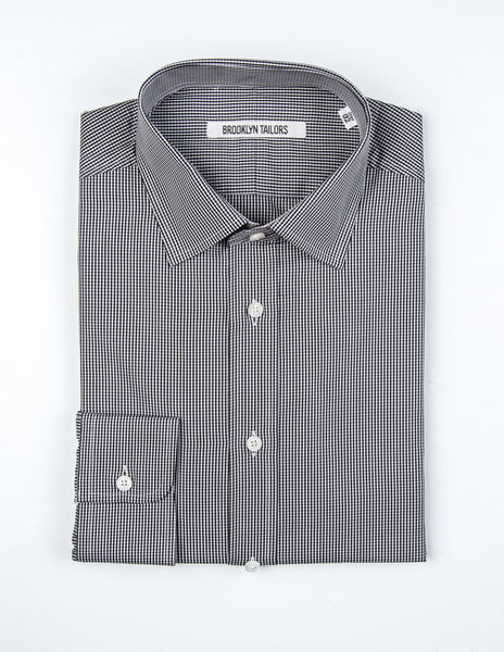 BROOKLYN TAILORS - BKT20 Dress Shirt in Black and White Gingham