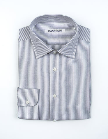BROOKLYN TAILORS - BKT20 Dress Shirt in White with Grey Oxford Stripe