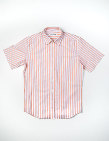 FINAL SALE - BROOKLYN TAILORS - BKT14 Short Sleeve Shirt in White/Orange Stripes