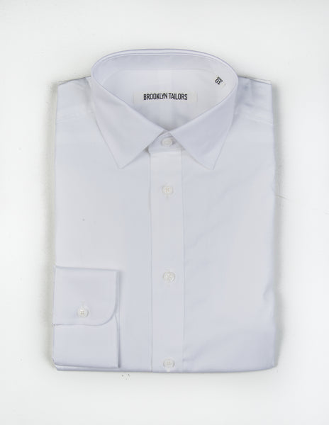 BROOKLYN TAILORS - BKT20 Dress Shirt in White Pinpoint