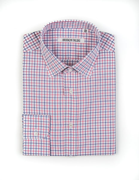 FINAL SALE:  BROOKLYN TAILORS - BKT20 Dress Shirt in White with Blue & Pink Grid