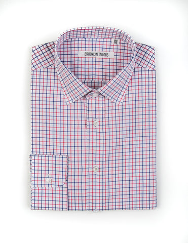 FINAL SALE - BROOKLYN TAILORS - BKT20 Dress Shirt in White with Blue & Pink Grid