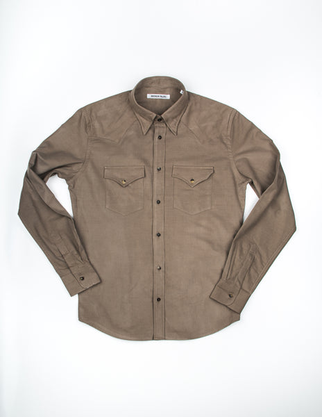 BROOKLYN TAILORS - BKT13 Cowboy Shirt in Sand Baby Corduroy
