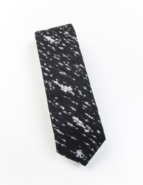 FINAL SALE-BROOKLYN TAILORS - Grey and Black Slub Silk Tie