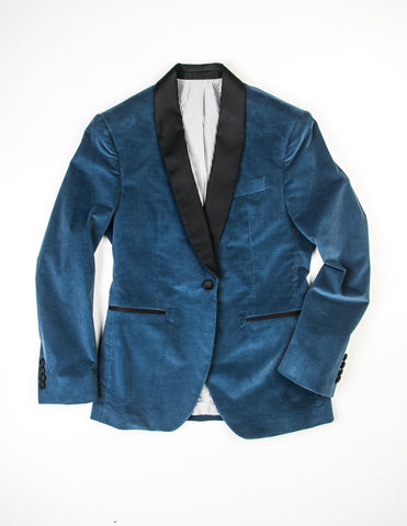 FINAL SALE - BROOKLYN TAILORS - BKT50 Dinner Jacket in Blue Corduroy