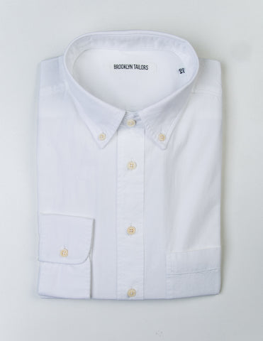BROOKLYN TAILORS - BKT10 Casual Shirt in White Pinpoint