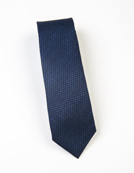 BROOKLYN TAILORS - Textured Wool Necktie - Regal Blue