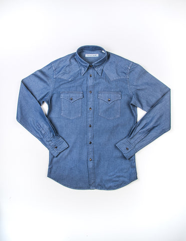 FINAL SALE - BROOKLYN TAILORS - BKT13 Cowboy Shirt in Indigo Denim