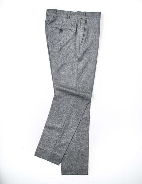 BROOKLYN TAILORS - BKT50 Tailored Trousers in Dark Grey and Off White Tickweave Brushed Flannel