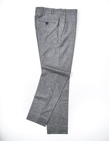 FINAL SALE: BROOKLYN TAILORS - BKT50 Tailored Trousers in Dark Grey and Off White Tickweave Brushed Flannel