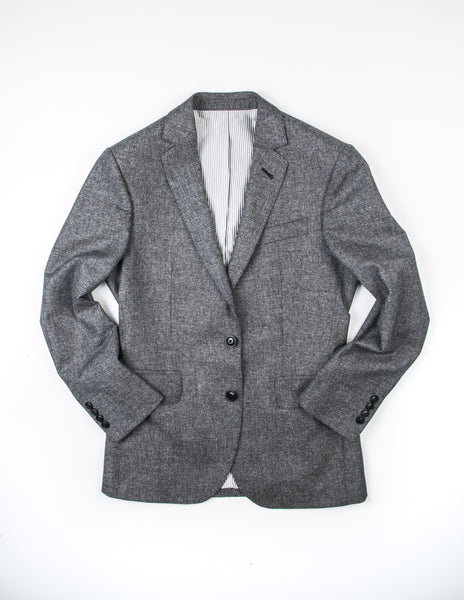 BROOKLYN TAILORS - BKT50 Jacket in Dark Grey and Off White Tickweave Brushed Flannel