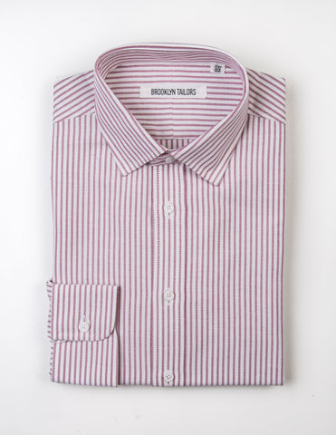 FINAL SALE - BROOKLYN TAILORS - BKT20 Dress Shirt in White Oxford with Red Stripes
