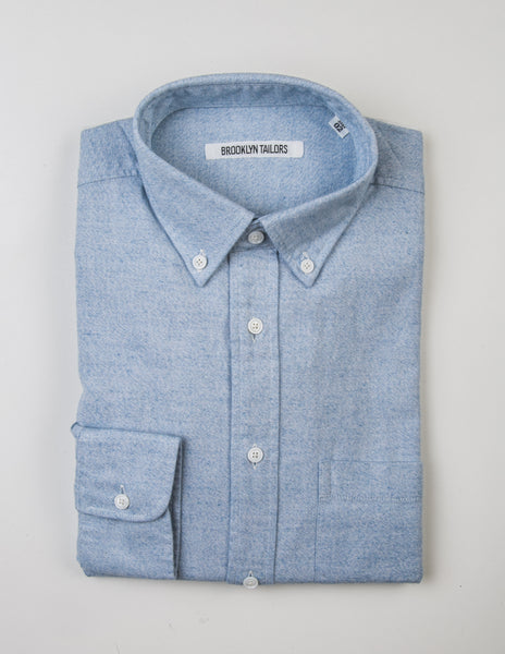 BROOKLYN TAILORS - BKT10 Sport Shirt in Light Blue Brushed Oxford