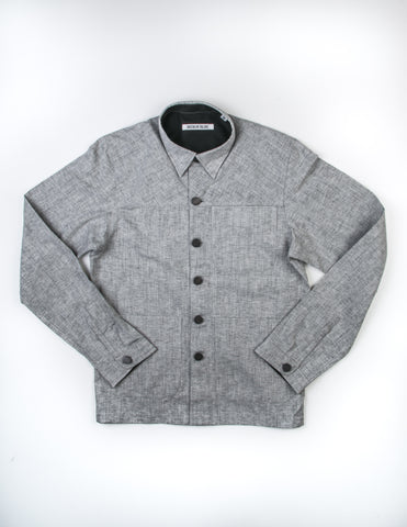 BROOKLYN TAILORS - BKT15 Shirt Jacket in Black and Ivory Marled Yarn