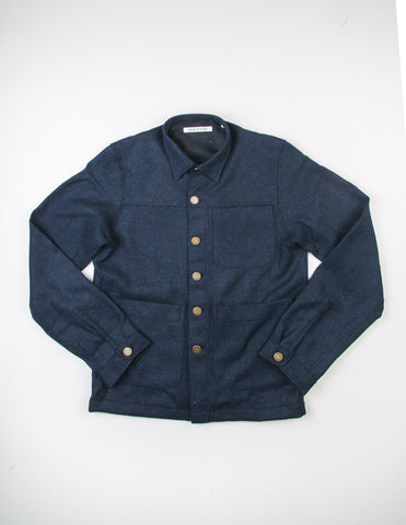 BROOKLYN TAILORS - BKT15 Shirt Jacket in Navy Herringbone Tweed