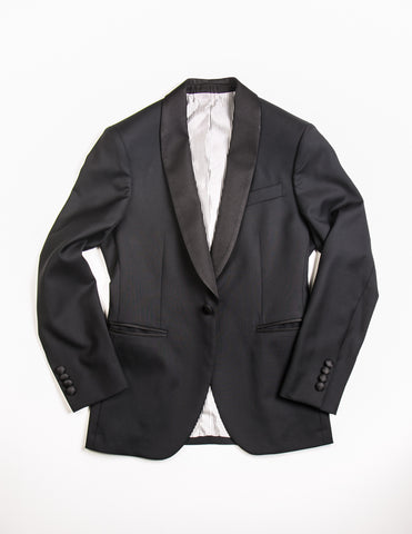 BROOKLYN TAILORS - BKT50 Tuxedo Jacket in Black Super 110s with Grosgrain