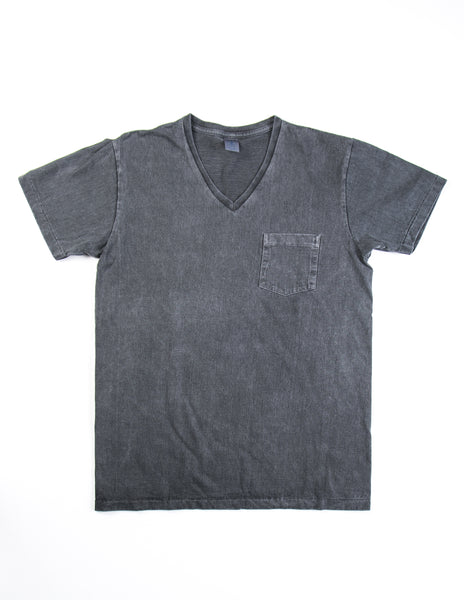 VELVA SHEEN - Dark Grey V-Neck Pigment Cotton Tee