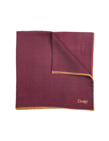 Drake's - Solid Pocket Square in Red