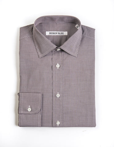 BROOKLYN TAILORS - BKT20 Dress Shirt Brown and White Gingham