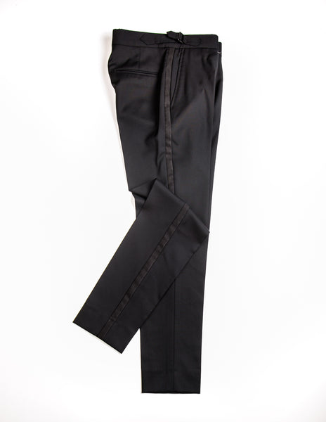 BROOKLYN TAILORS - BKT50 Tuxedo Trouser in Black Super 110s with Grossgrain
