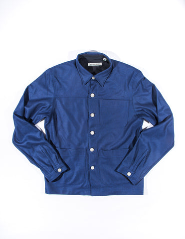 BROOKLYN TAILORS - BKT15 Shirt Jacket in Blue Brushed Wool