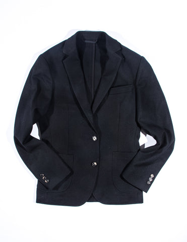 FINAL SALE - BROOKLYN TAILORS - BKT35 Unstructured Jacket in Black Wool/Cotton