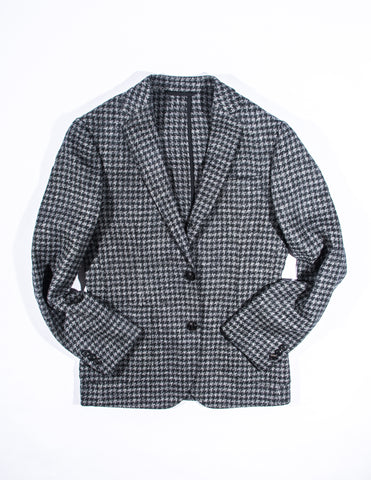 BROOKLYN TAILORS - BKT35 Unstructured Jacket in Black and Grey Houndstooth Tweed