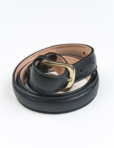BROOKLYN TAILORS X SADDLER'S - Dolarino Narrow Semi-Dress Belt in Nero