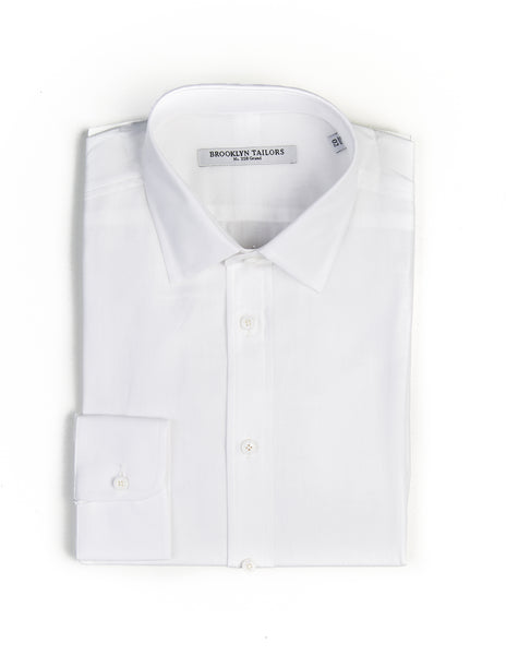 BROOKLYN TAILORS - BKT20 Open Weave Cotton Dress Shirt in White