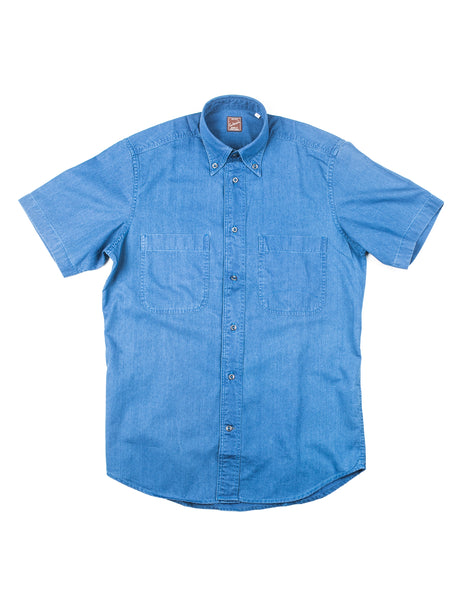FINAL SALE: GLENN'S DENIM- GD312 Short-Sleeve Utility Shirt in Indigo Denim