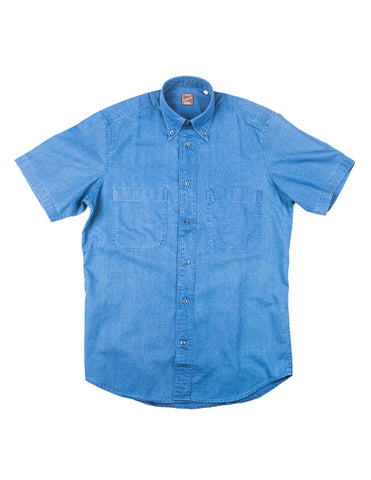 GLENN'S DENIM- GD312 Short-Sleeve Utility Shirt in Indigo Denim
