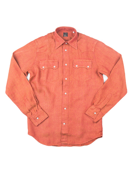 GLENN'S DENIM - GD311 Western Shirt in Rust Linen