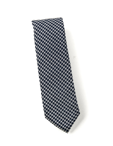 BROOKLYN TAILORS - Wool Seersucker Tie in Navy with White Check