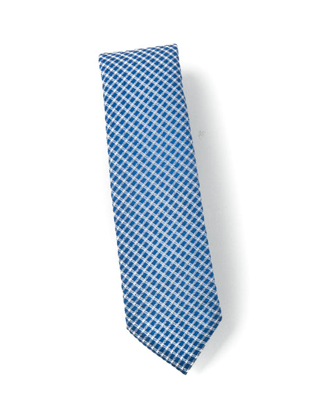 BROOKLYN TAILORS - Wool Seersucker Tie in Sky Blue with White Check