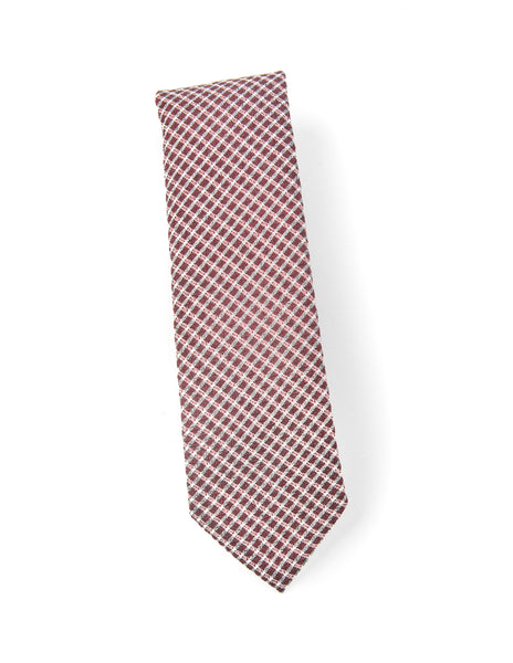 FINAL SALE: BROOKLYN TAILORS - Wool Seersucker Tie in Red with White Check