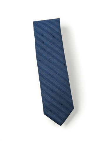 FINAL SALE: BROOKLYN TAILORS - Wool Tie in Airforce Blue with Stripes