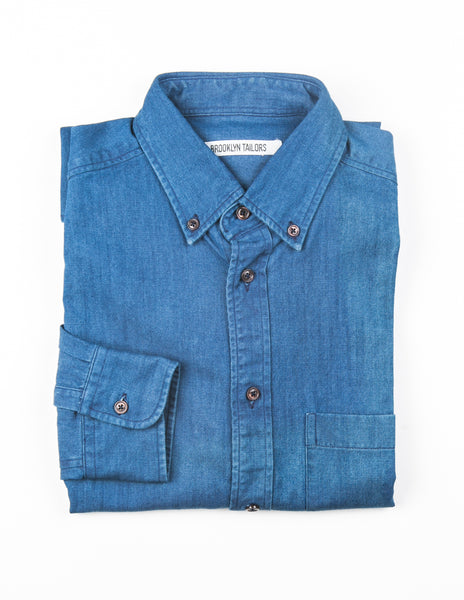 BROOKLYN TAILORS - BKT 10 Casual Shirt in Rich Blue Washed Denim