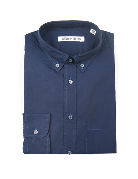 BROOKLYN TAILORS - BKT10 Casual Shirt in Navy Poplin
