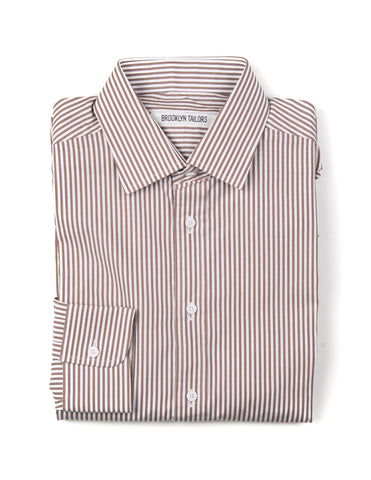 BROOKLYN TAILORS - BKT20 Dress Shirt in White and Brown Stripes