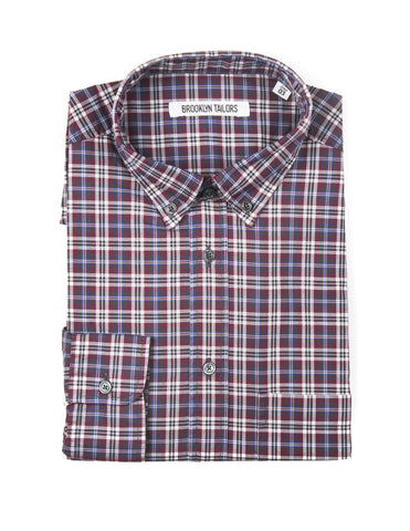 BROOKLYN TAILORS - BKT10 Casual Shirt in Wine, Slate, and Ivory Plaid