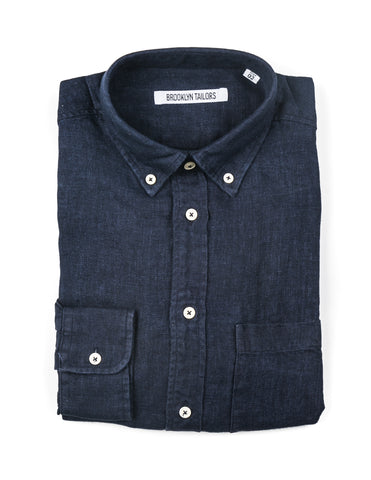 BROOKLYN TAILORS - BKT10 Casual Shirt in Navy Linen