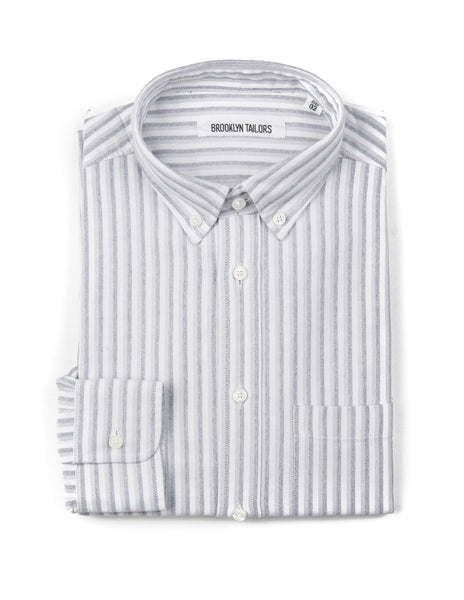BROOKLYN TAILORS - BKT10 Slim Casual Shirt in Double Striped Oxford - Gray