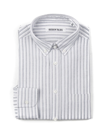 BROOKLYN TAILORS - BKT10 Casual Shirt in White Oxford with Grey Double Stripe