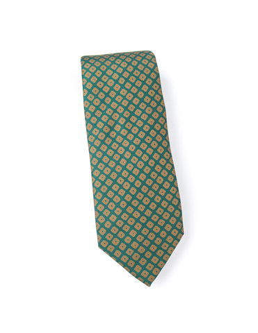DRAKE'S - Printed 36oz Madder Tie in Green